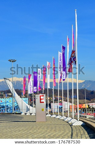 SOCHI, RUSSIA - FEBRUARY 7, 2014: Olympic flags with the symbol of the Sochi 2014 in Olympic park a few hours before the opening ceremony of the Olympic Games 2014