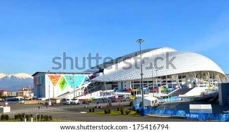 SOCHI, RUSSIA - FEBRUARY 7, 2014: Olympic stadium Fisht in Sochi, Russia for opening and closing ceremonies of Winter Olympic Games 2014 - stock photo