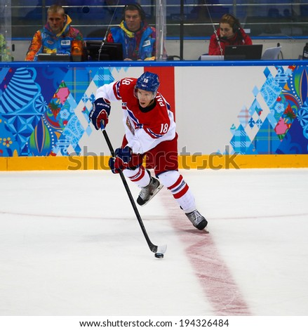 Sochi, RUSSIA - February 18, 2014: Ondrej PALAT (CZE) on ice during Ice hockey Men's Play-offs Qualifications Game vs. Slovakia team at the Sochi 2014 Olympic Games - stock photo