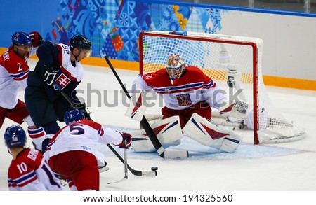 Sochi, RUSSIA - February 18, 2014: Ondrej PAVELEC (CZE) on ice during Ice hockey Men's Play-offs Qualifications Game vs. Slovakia team at the Sochi 2014 Olympic Games - stock photo