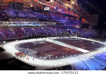 SOCHI, RUSSIA - FEBRUARY 7, 2014: Parade of Nations (parade of athletes) at the opening ceremony of the XXII Olympic Winter Games in the stadium Fisht on February 7, 2014 in Sochi.