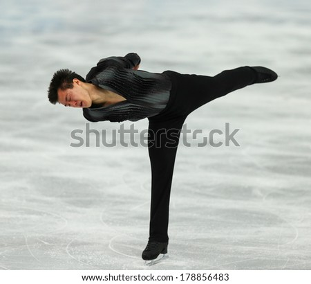 Sochi, RUSSIA - February 13, 2014: Patrick CHAN (CAN) on ice during figure skating competition of men in short program at Sochi 2014 XXII Olympic Winter Games
