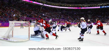 Sochi, RUSSIA - February 20, 2014: Rebecca JOHNSTON (CAN) at Canada vs. USA Ice hockey Women's Gold Medal Game at the Sochi 2014 Olympic Games - stock photo