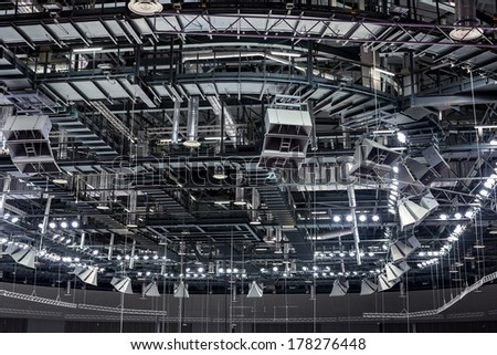 SOCHI, RUSSIA - FEBRUARY 16: Roof ceiling inside in the Large Ice Palace in the Olympic Park of Winter Olympic Games Sochi 2014 on February 16, 2014 in Sochi, Russia