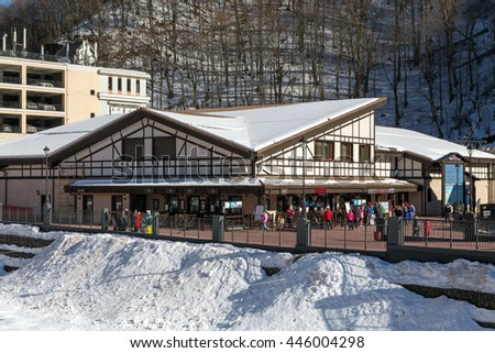 Sochi, Russia - February 10, 2016: Rosa Khutor Alpine Resort. Krasnaya Polyana, Krasnodar region. Constructed from 2003 to 2011 - stock photo