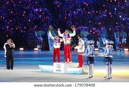 Sochi, RUSSIA - February 23, 2014: Russian athletes at closing ceremony in Fisht Olympic Stadium at the Sochi 2014 Olympic Games - stock photo