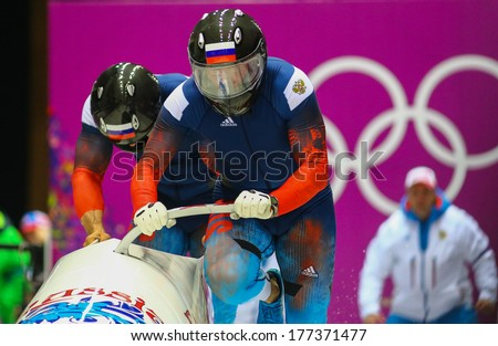 Sochi, RUSSIA - February 16, 2014: Russian Fed. 1 team at two-man bobsleigh heat at Sochi 2014 XXII Olympic Winter Games