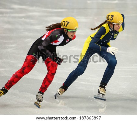 Sochi, RUSSIA - February 18, 2014: Safiya VLASOVA (UKR) No.153 at Ladies' 1000 m Short Track Heats at the Sochi 2014 Olympic Games