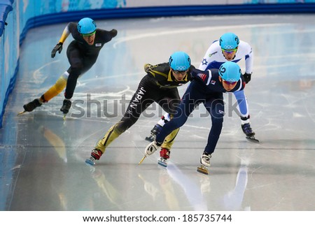 Sochi, RUSSIA - February 18, 2014: Se Yeong PARK (KOR), No242 at Men's 500 m Short Track Heats at the Sochi 2014 Olympic Games