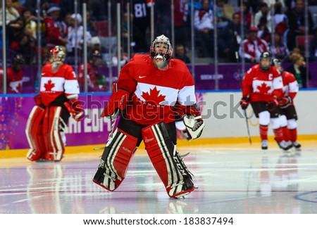Sochi, RUSSIA - February 20, 2014: Shannon SZABADOS (CAN) at Canada vs. USA Ice hockey Women's Gold Medal Game at the Sochi 2014 Olympic Games