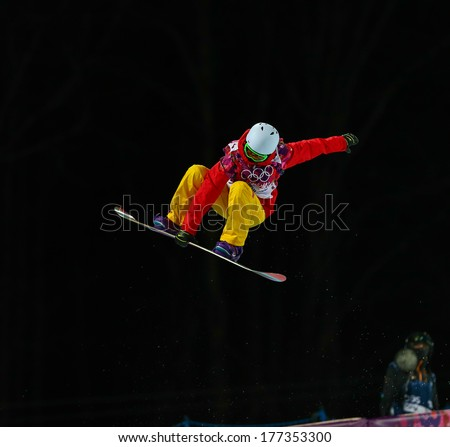 Sochi, RUSSIA - February 12, 2014: Shuang LI (CHN) at snowboard competition during Ladies' Halfpipe Qualification at Sochi 2014 XXII Olympic Winter Games - stock photo