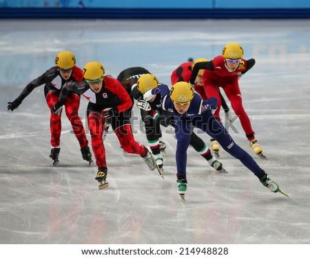 Sochi, RUSSIA - February 18, Suk Hee SHIM (KOR), No 139 at Ladies' 3000 m Heats Short Track Relay at the Sochi 2014 Olympic Games - stock photo