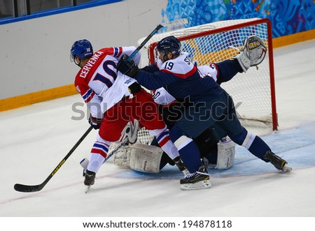 Sochi, RUSSIA - February 18, 2014: Tomas STAROSTA (SVK) on ice during Ice hockey Men's Play-offs Qualifications Game vs. Czech Republic team at the Sochi 2014 Olympic Games - stock photo