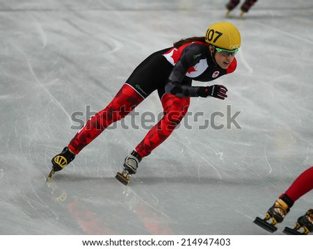 Sochi, RUSSIA - February 18, Valerie MALTAIS (CAN), No 107 at Ladies' 3000 m Heats Short Track Relay at the Sochi 2014 Olympic Games