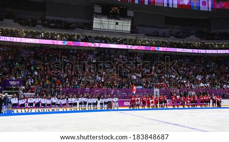 Sochi, RUSSIA - February 20, 2014: Women's Ice hockey teams at medal ceremony after Gold Medal Game at the Sochi 2014 Olympic Games