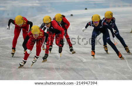 Sochi, RUSSIA - February 18, Yang ZHOU (CHN), No 113 at Ladies' 3000 m Heats Short Track Relay at the Sochi 2014 Olympic Games
