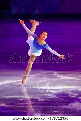 Sochi, RUSSIA - February 22, 2014: Yuna KIM at Figure Skating Exhibition Gala at Sochi 2014 XXII Olympic Winter Games - stock photo