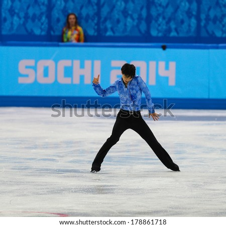Sochi, RUSSIA - February 13, 2014: Yuzuru HANYU (JPN) on ice during figure skating competition of men in short program at Sochi 2014 XXII Olympic Winter Games
