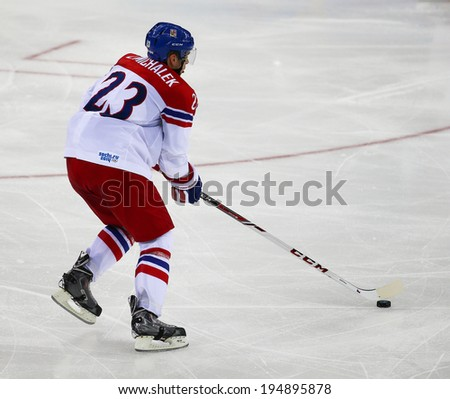 Sochi, RUSSIA - February 18, 2014: Zbynek MICHALEK (CZE) on ice during Ice hockey Men's Play-offs Qualifications Game vs. Slovakia team at the Sochi 2014 Olympic Games