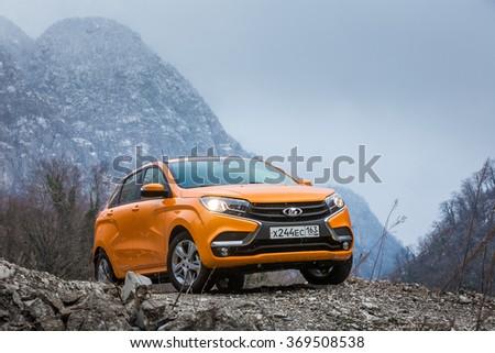 Sochi, Russia January 25, 2016: New Russian Cars LADA XRAY. Test Drive on January 25, 2016 in Sochi, Krasnaya Polyana, Rosa Khutor, Russia - stock photo