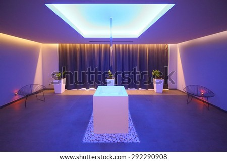 SOCHI, RUSSIA - JUL 27, 2014: Interior room in the spa with ice in the center in Hotel Radisson Blu Paradise Resort and Spa - stock photo