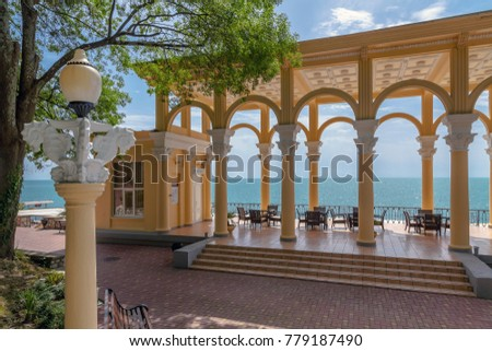 SOCHI, RUSSIA-JUNE 5, 2014: Colonnade near the Black Sea in a sanatorium