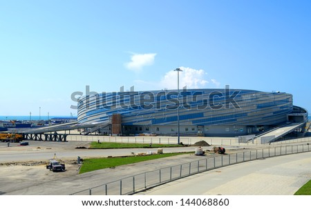 SOCHI, RUSSIA - JUNE 20: Construction of the small arena for hockey �¢??Shaiba�¢?� (Washer) on June 20, 2013 in Sochi, Russia for Winter Olympic Games 2014 - stock photo