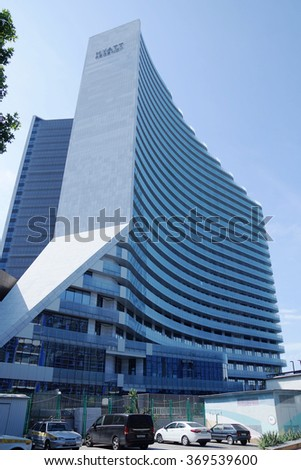 SOCHI RUSSIA  JUNE 11 2015. The Hyatt Regency hotel. The highest building in the city - stock photo