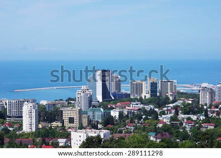 SOCHI, RUSSIA - JUNE 11, 2015. View to the port of the city - stock photo