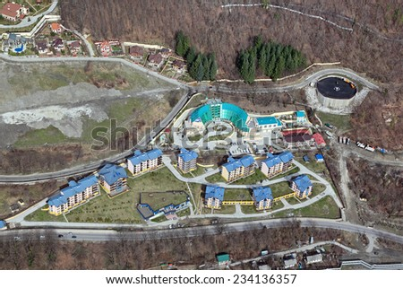 SOCHI, RUSSIA-MAR 2, 2014: Krasnaya Polyana - ski Resort, venue for the 2014 winter Olympics. Training center Southern regional search and rescue team of EMERCOM of Russia and the hotel Katerina Alpik