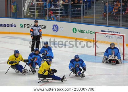 SOCHI, RUSSIA - MAR 12, 2014: Paralympic winter games in ice Arena Shayba. The sledge hockey, match Italy-Sweden. The teams in hockey gate - stock photo