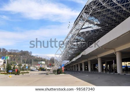 SOCHI, RUSSIA-MARCH 16: Entrance in International Sochi airport, which takes the 8th place in Russia on a passenger traffic whith more than 2 mln passengers a year, March 16, 2010.