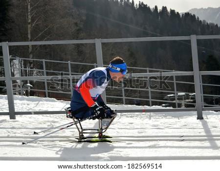SOCHI, RUSSIA - March 9, 2014: Irek Zaripov (Russia) competes on Winter Paralympic Games  in Sochi. Biathlon, Men's 15 km, sitting - stock photo