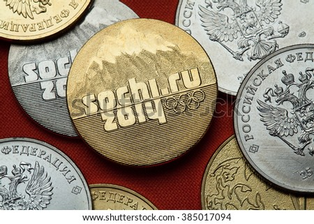 SOCHI, RUSSIA - MARCH 1, 2016: Logo for the Sochi 2014 Winter Olympics depicted in the Russian commemorative 25 ruble coin.