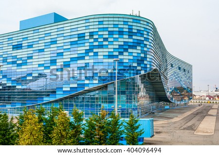 SOCHI, RUSSIA - MARCH 27, 2016: Olympic Park and building Ice Palace Iceberg in Sochi  - stock photo