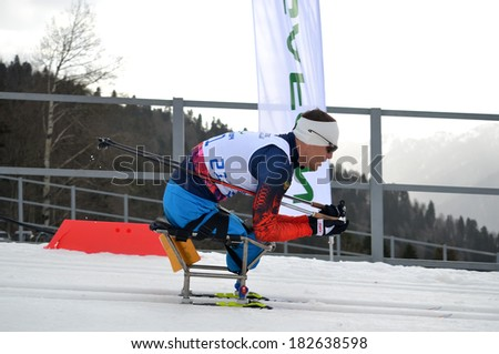 SOCHI, RUSSIA - March 9, 2014: Roman Petushkov (Russia) competes on Winter Paralympic Games  in Sochi. Biathlon, Men's 15 km, sitting