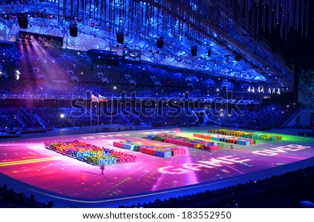SOCHI, RUSSIA  MARCH 16, 2014: The closing ceremony of the Paralympic Winter Games 2014 at Fisht stadium in Olympic Park
