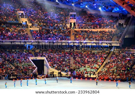 SOCHI, RUSSIA - MARCH 16, 2014: The closing ceremony of the Paralympic Winter Games 2014 at Fisht stadium in Olympic Park  - stock photo