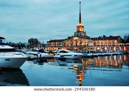 SOCHI, RUSSIA - MAY 16, 2015: Night view to the Grand Marina in the seaport. Premium class yacht marina can accept 209 boats - stock photo