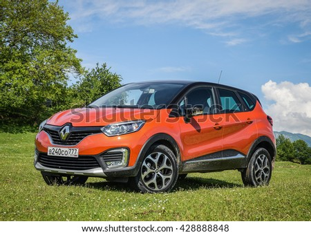 SOCHI, RUSSIA - MAY 25, 2016: Renault Kaptur at the test-drive event. Kaptur is the first SUV by Renault engineered in Russia. Car has attractive design and astonishing lifestyle character.