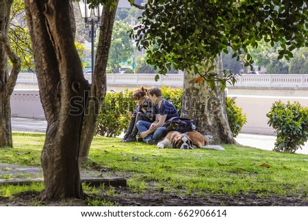 SOCHI, RUSSIA - MAY 2, 2017: two young people with a dog rest in the park. They sit on the grass under a tree sycamore. Sochi is a resort town on the Black Sea coast.