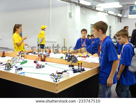 SOCHI, RUSSIA - November 21, 2014: Team Russia at the robot Olympiad in Sochi . Here there was the World Robotic Olympiad 2014