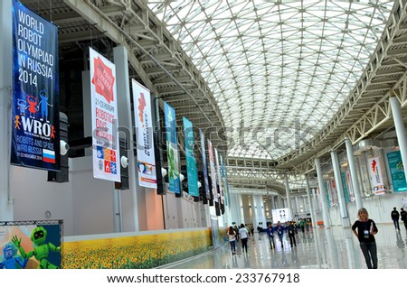 SOCHI, RUSSIA - November 21, 2014: World Robotic Olympiad Russia 2014 in Sochi expocenter. It was attended by delegates from 47 countries. - stock photo