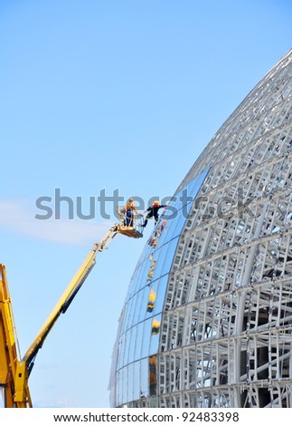 SOCHI, RUSSIA - SEPTEMBER 13: Construction of ice hockey rink in the Sochi Olympic Park in Septenber 13, 2011 in Sochi, Russia for the Winter Olympic Games 2014