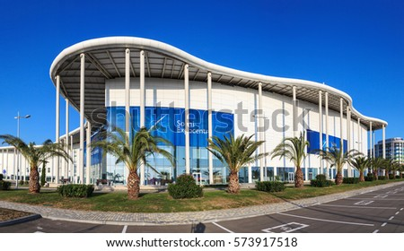 Sochi, Russia - September 1, 2014: New modern building of the Main Olympic Media Center is used as a venue for the Russian International Investment Forum. Panoramic view with clear blue sky at summer