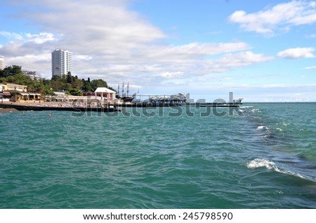 SOCHI, RUSSIA, 29, SEPTEMBER, 2014: View of the beach in the Sochi, Russia - stock photo