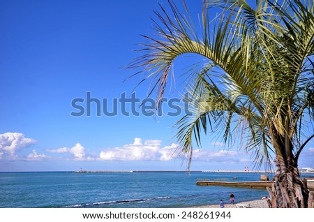 SOCHI, RUSSIA - SEPTEMBER 30, 2014: View of the beach in the Sochi, Russia - stock photo