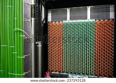 SOCHI, RUSSIAN FEDERATION - JANUARY 10, 2014: Back side of video editing servers rack used by German Television (ARD and ZDF) located in the Sochi Olympic Games Press Centre.  - stock photo