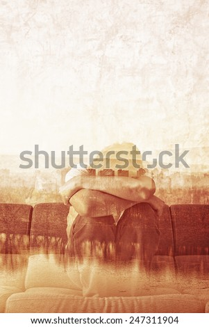 Social Alienation Concept, Depressed Man covering face and crying in despair. - stock photo