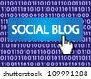 Social blog Button with Hand Cursor. Vector version also available in my portfolio. - stock photo